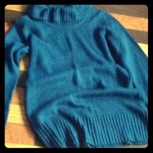 AB Studio teal green cowl neck tunic sweater